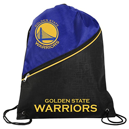 FOCO Golden State Warriors Official NBA High End Diagonal Zipper Drawstring Backpack Gym Bag by FOCO