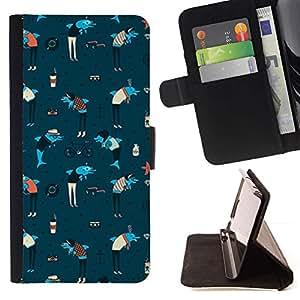 Momo Phone Case / Flip Funda de Cuero Case Cover - Delfines Ancla Art Wallpaper azul colorido - LG Nexus 5 D820 D821