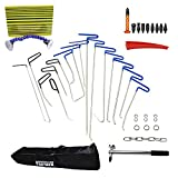 Furuix PDR Kit PDR Rod Tool Kit Dent Remover Kit with Line Board Tap Down Auto Body Dent Removal Paintless Hail Removal Auto Car Ding Dent Repair Rod