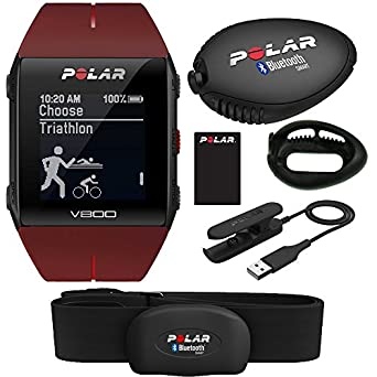 Polar V800 GPS Sports Watch with H7 Heart Rate Sensor (Red) and Stride Sensor