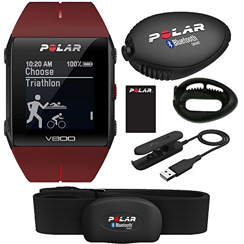Polar V800 GPS Sports Watch with H7 Heart Rate Sensor (Red) and Stride Sensor by Polar