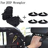 E-Most 2x Roll Cage Multi-Pockets Storage Saddlebag&Black Rear Seat Grab Handle for 2007-2016 Jeep Wrangler JK 4-door