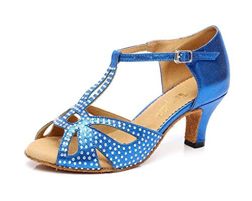 Minitoo Qj6182 Vrouwen Kristallen Satijnen Ballroom Latin Dansschoenen Blauw