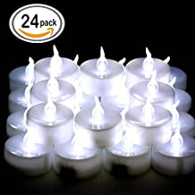 OMGAI 24 PCS LED Tea lights Candles Battery-Powered Small Bright Flickering Flameless Candles for Home Decoration White