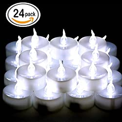 Omgai 24 Pcs Led Tea Lights Candles Battery-powered Small Bright Flickering Flameless Candles For Home Decoration - Cool White