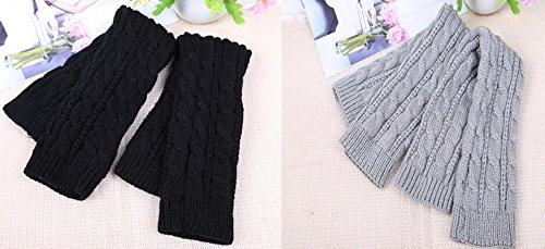 Oryer 2 Pairs Womens Winter Knit Long Fingerless Gloves - Thumbhole Arm Warmers