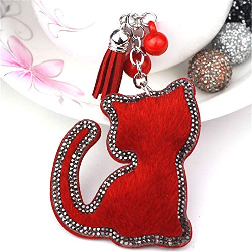 JBANPOWLU Cute Big Cat Tassels Horse Hair Bag Bugs Car Ornaments Leather Tassels Bag Charm Key Chain red