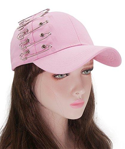 Roffatide Unisex Safety Pin Personality Adjustable Cotton Hip Hop Hat Baseball Cap Pink (Womens Pin Cap)