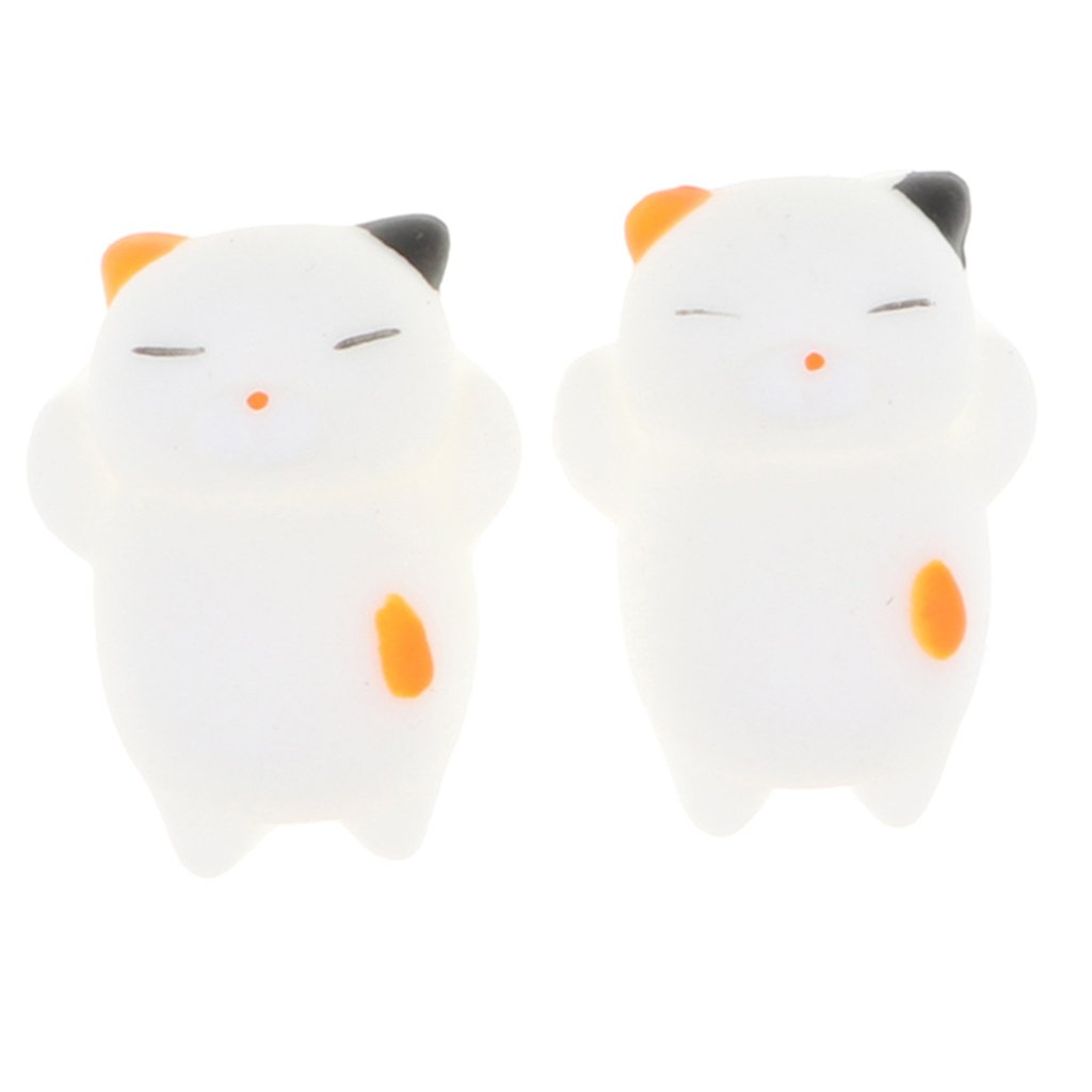 kesoto 1 Pair Mini Squishy Soft Slow Rising Squishes Toy TPR Stress Relief Cat Cute Toy