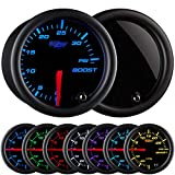 "GlowShift Tinted 7 Color 35 PSI Turbo Boost Gauge Kit - Includes Mechanical Hose & Fittings - Black Dial - Smoked Lens - for Car & Truck - 2-1/16"" 52mm"
