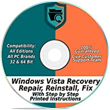 Windows Vista Repair & Recovery Disk 32 & 64 Bit DVD Reinstall Reboot Fix ALL Brands HP, Dell, Asus, Toshiba, etc. Desktop / Laptop Computer [Instructions & Support]