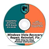 Windows Vista Repair & Recovery Disk 32 & 64 Bit DVD Reinstall Reboot Fix ALL Brands HP, Dell, Asus, Toshiba, etc. Desktop / Laptop Computer [Instructions & Support]