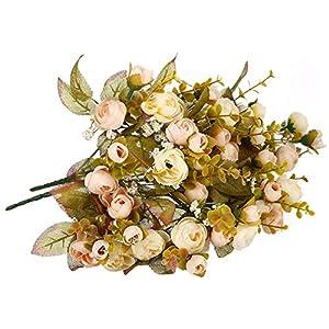 Memoirs- 1Piece Flower Basket Artificial Bouquet Rose Bridal Flower Wedding Decoration Flowers Silk Home Party Decoration,Champagne 73