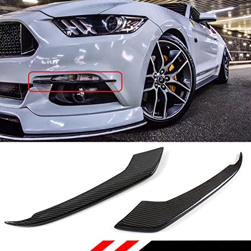 Cuztom Tuning FOR 2015-2017 FORD MUSTANG GT S550 REAL CARBON FIBER BUMPER FOG LIGHT CANARD STRIP TRIM