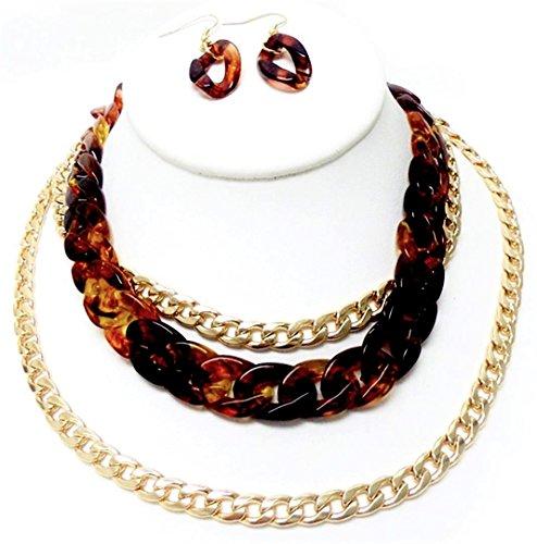 Chunky Leopard Print Multi Chain Necklace Earrings Set C57 Large Links Tortoise Shell Gold - Shell Print Tortoise