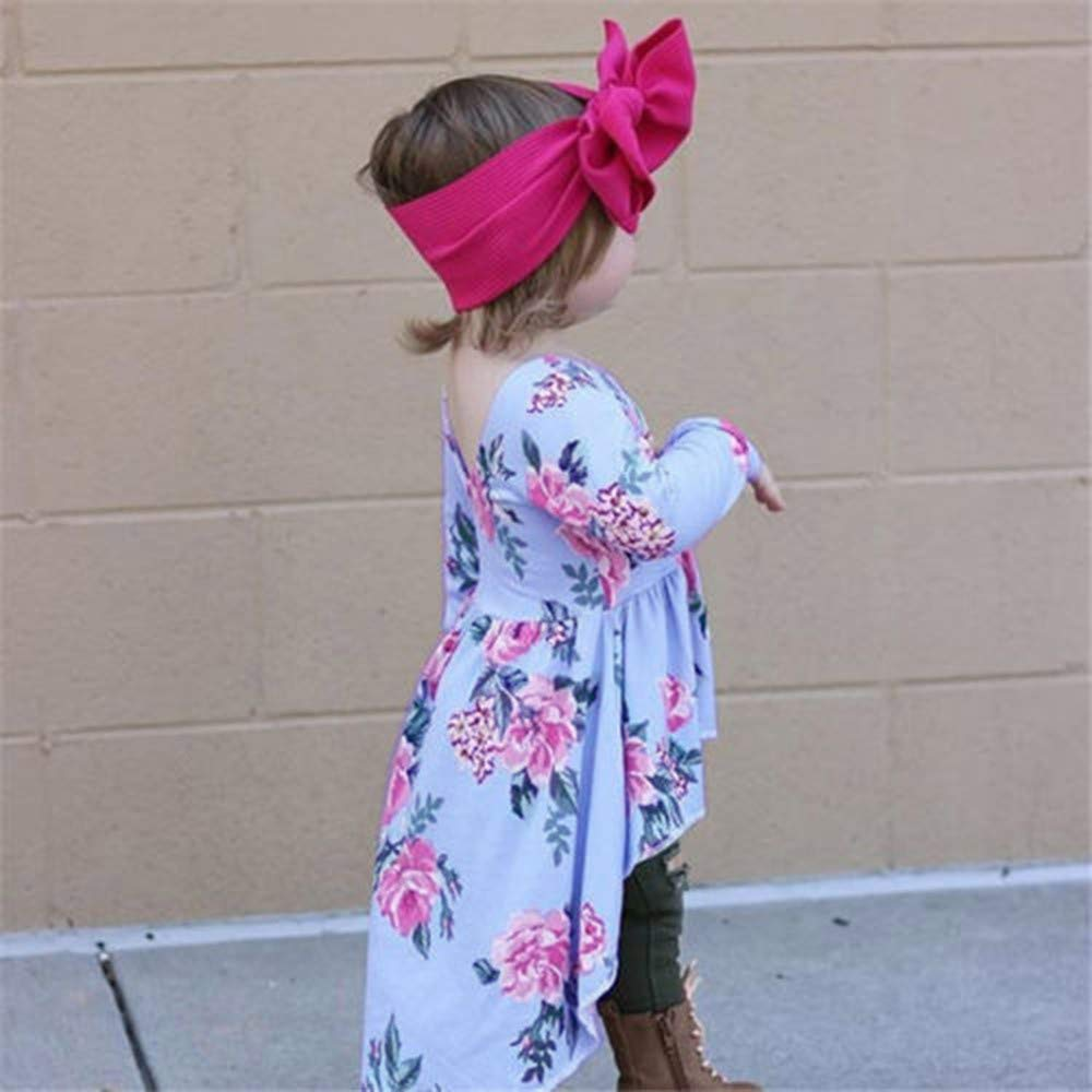 Winter Baby Dress,Fineser Beautiful Toddler Kid Baby Girls Long Sleeve Floral Print Irregular Skirt Dress Tops Clothes