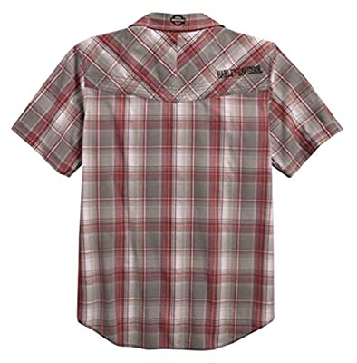 Harley-Davidson Men's HDMC Short Sleeve Plaid Woven Shirt, Red 96154-16VM