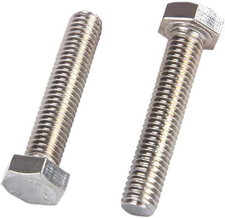 XFentech M8*50mm Boulons Inox Boulon Hexagonale T/ête Plate Enti/èrement Filet/é Vis et Fixations 10pcs