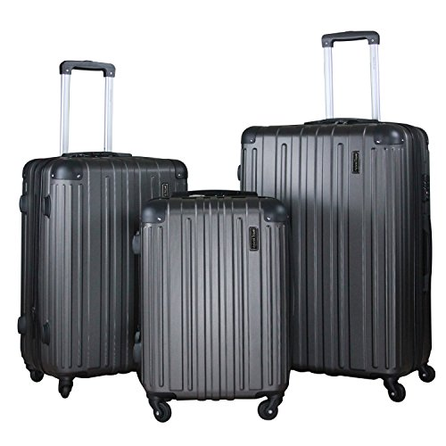 - 3 PC Luggage Set Durable Lightweight Spinner Suitecase LUG3 1602 DARK GREY