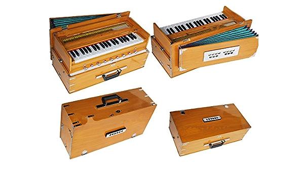 Queen Brass Safri Harmonium-Teak-Color-Peti-Baja- Octave-9 ...