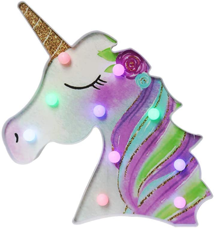 Glintee Unicorn LED Night Lamp Unicorn Gifts for Girls Decorative Marquee Signs Battery Operated Light for Party Supplies -Wall Decoration for Living Room,Bedroom (Flower Unicorn - Golden Horn)