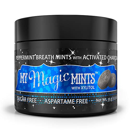 My Magic Mud - My Magic Mints, Activated Charcoal & Xylitol Infused, Breath Freshening, Sugar & Aspartame Free, Peppermint, 35 g (Approx. 70 pieces)