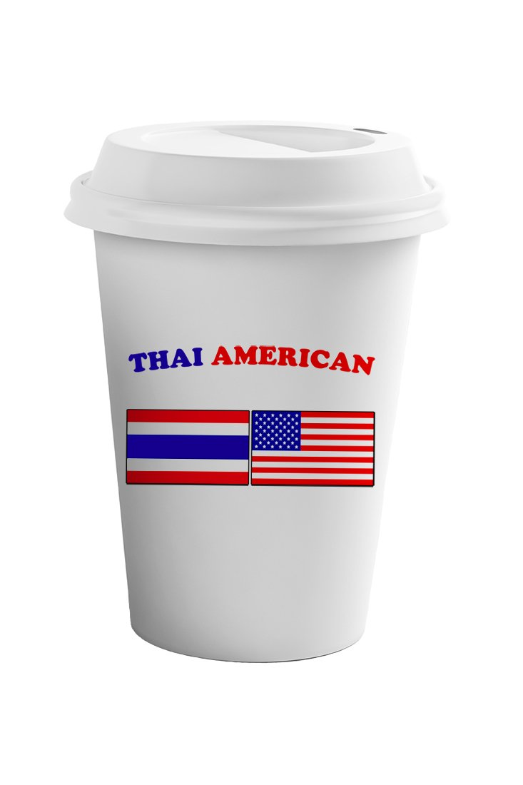 Style In Print Thai American Coffee Ceramic Travel Tumbler Mug 11oz