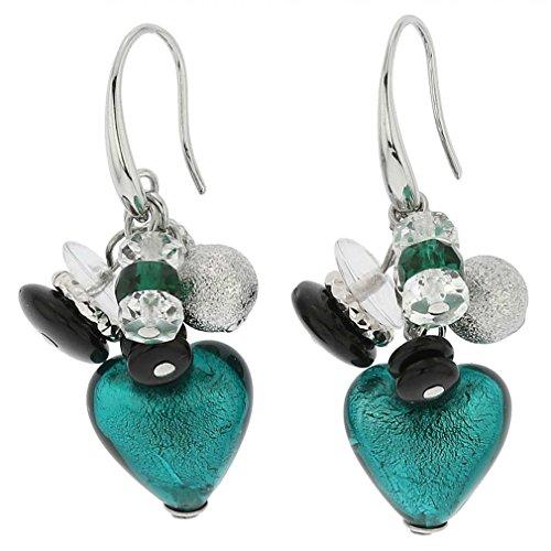 (GlassOfVenice Murano Glass Donatella Heart Charms Earrings - Aqua )