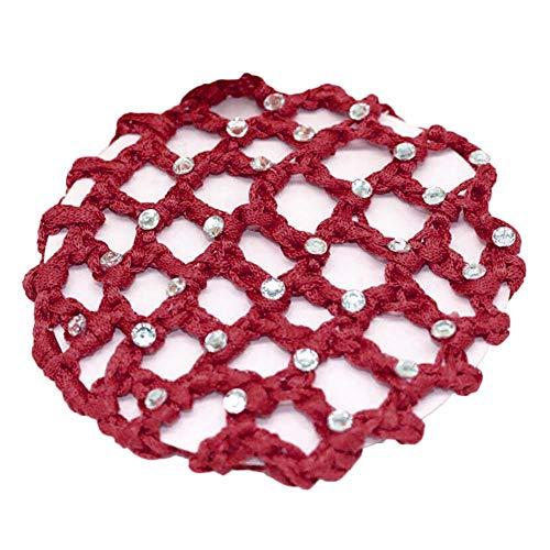 UROSA Diamond-Studded Hand-Crocheted Hair Net Red ()