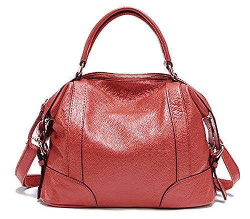 Bolsos de señora Xinmaoyuan Cowhide Señoras Bolso Bolso de Hombro Moda bolsos de cuero Rojo