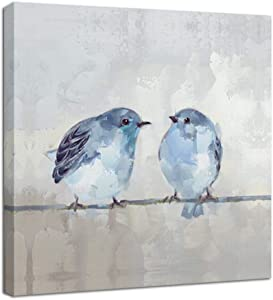 Canvas Wall Painting Print Cute Bird - Poster Mural Art Ready to Decor Bathroom Kitchen - 13.5 x 13.5 inches x 1panel