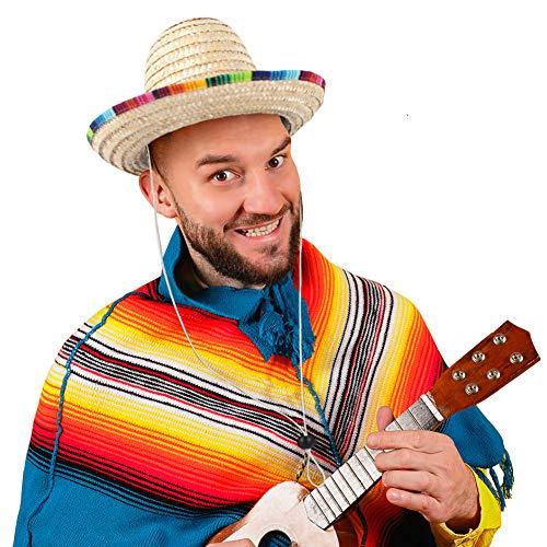 DOMESTAR Mexican Sombrero Hat, Straw Hat Mexican Costume Child Sombrero for Cinco de Mayo Spanish Fiesta