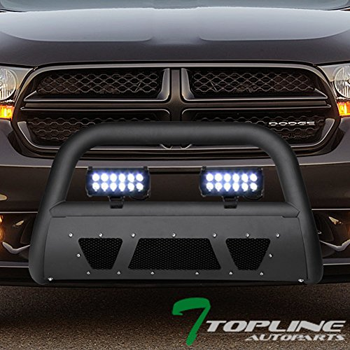 Topline Autopart Matte Black Studded Mesh Bull Bar Brush Push Front Bumper Grill Grille Guard With Skid Plate + 36W CREE LED Fog Lights For 04-09/10 Dodge Durango ; 06/07-09 ()