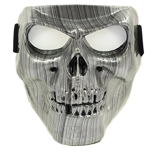 Vhccirt Halloween Spooky Decor Zombie/Skull/Grim Reaper Face Mask for Airsoft,Paintball,Motorcycle Racing Halloween Cosplay Silver Brushed with Gray -