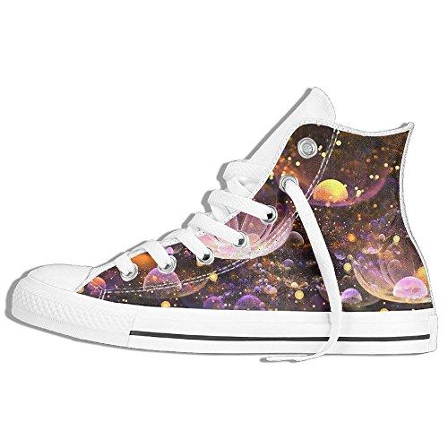 Classic High Top Sneakers Canvas Zapatos Antideslizante Fantasy Flower Casual Walking Para Hombres Mujeres Blanco