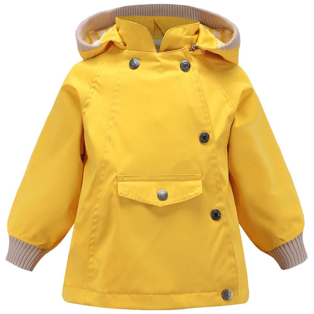 FORGOTEN CORNER Boys Hooded Outwear Rain Jacket Zippers Outdoor Windproof Waterproof Raincoat for Children
