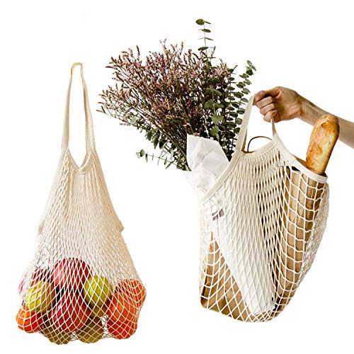 (2Pcs Net Shopping Bags Mesh Reusable Shopping Tote for Grocery Shopping&Outdoor Packing, Storage, Fruit, Vegetable (Long Handle + Short Handle))