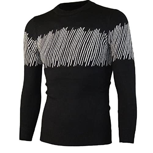 CBTLVSN Mens Hipster High Neck Slim Fit Knitwear Knitted Stripe Pullover Sweaters