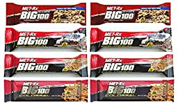 MET-Rx Big 100 Colossal Meal Replacement Bar Variety Bundle; 8 Assorted (2 of Each Flavor) 3.52 Ounce Bars