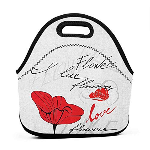 (Neoprene Lunch Bag Poppy,Stylized Red Blossom with Romantic Inscription Love of Nature and Flower, Scarlet Black Pale Grey,lunch bag for baby bottles)