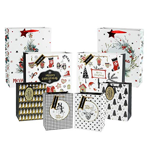 - WRAPAHOLIC Christmas Holiday Gift Bags - 2 Large 2 Medium 4 Small - Assorted Beautiful Winter Designs - 8 Pack