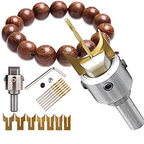 16 Pcs Mini Wooden Bead Maker, Carbide Ball Blade, Woodworking Milling Cutter Molding Tool Hardness Beads Router Bit Drills Bit Set Cemented Carbide Spherical Buddha Beads Woodworking Tool Kit