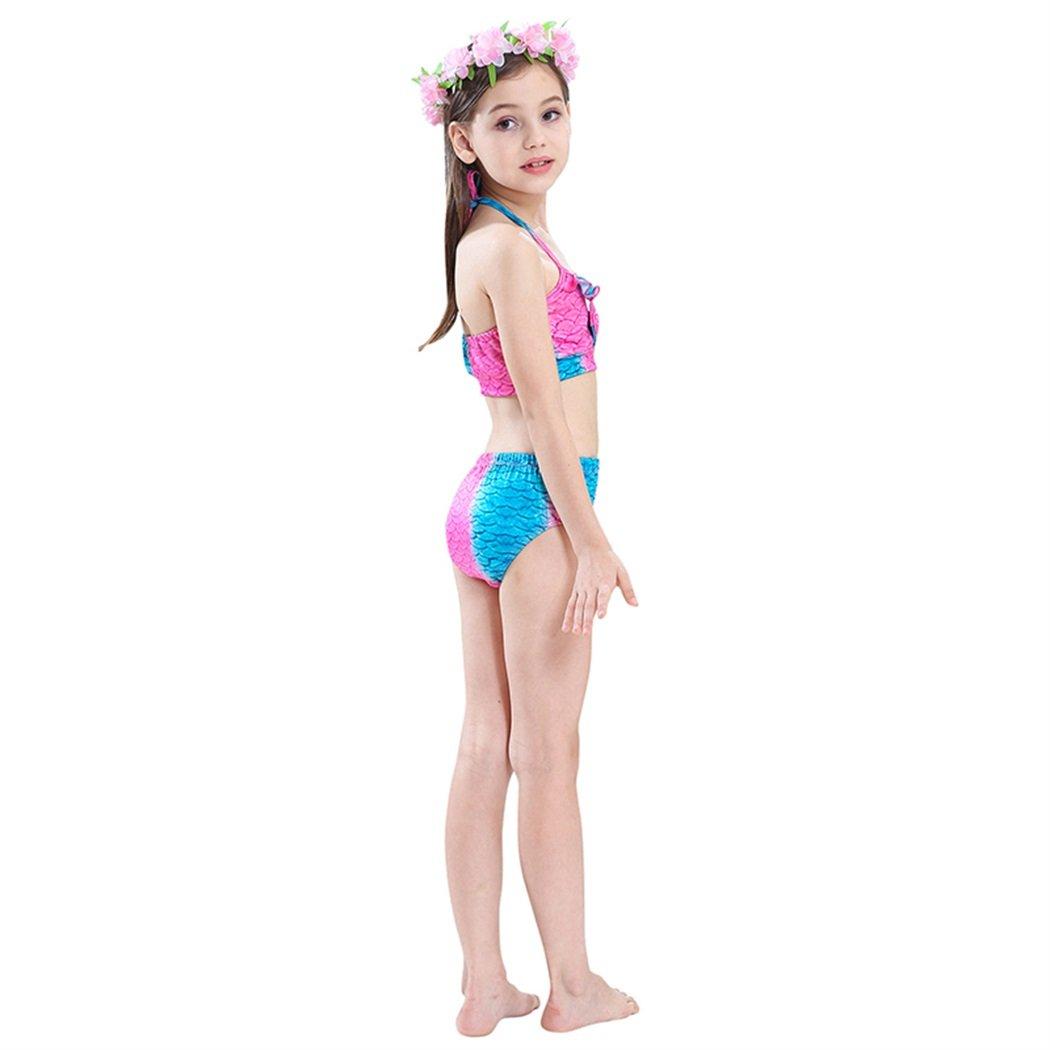 onlight M/ädchen Meerjungfrau Bikini Sets Kost/üm mit Meerjungfrau Flosse f/ür Schwimmen 4PCS Badebekleidung