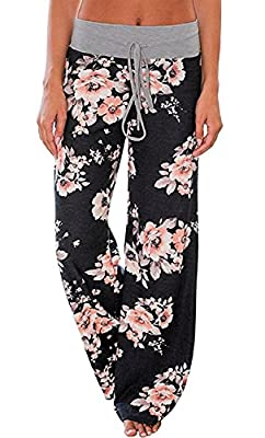 AMiERY Women's Comfy Casual Pajama Pants Floral Print Drawstring Palazzo Lounge Pants Wide Leg