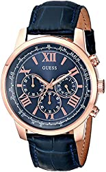 GUESS Men's U0380G5 Iconic Rose Gold-Tone Stainless Steel Watch With Blue Leather Band
