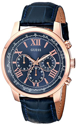 GUESS-Mens-U0380G5-Iconic-Rose-Gold-Tone-Stainless-Steel-Watch-With-Blue-Leather-Band