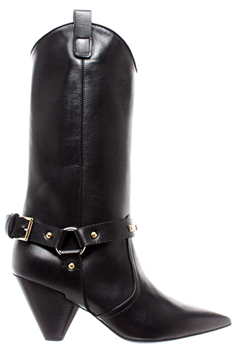 6ee902c895eaf6 Moschino Stivale TEXANO Donna Boot Love TC 60 Pelle Vitello NAPPATO Nero  D19MO31: Amazon.it: Scarpe e borse