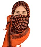 Mato & Hash Military Shemagh Tactical 100% Cotton Scarf Head Wrap - Rustic Orange/Black