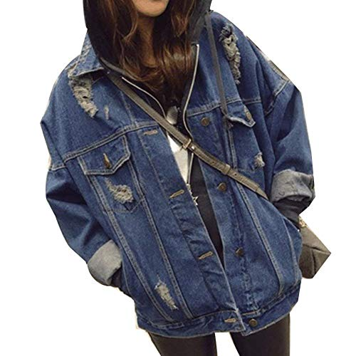 Donna Chic Moda Bavero Giacca Jeans Single Dunkelblau Baggy Ragazza Manica Casual Giacche Breasted Giubotto Giaccone Autunno Elegante Giovane Giorno Lunga Strappato PtwS4nxEq