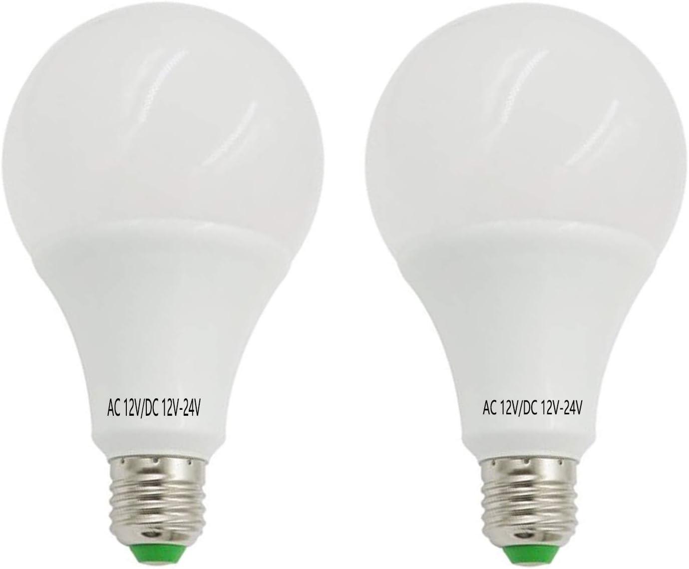 AIYOWEI - Pack de 2 bombillas LED E26 E27 12 V-24 V CA/CC 12 W 1100 lúmenes a prueba de explosiones lámpara LED de ahorro de energía para uso doméstico (blanco 6000 K-6500 K)